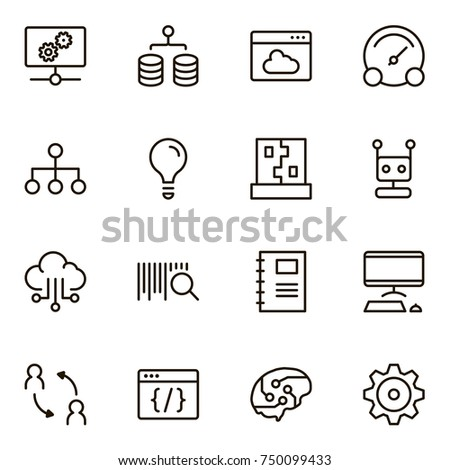 Machine learning icon set. Collection of high quality black outline logo for web site design and mobile apps. Vector illustration on a white background.