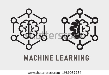 Machine learning icon. Vector illustration isolated on white.