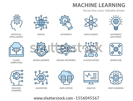 Machine learning icons icons, such as artificial intelligence, digital business, automated system and more. Editable stroke.