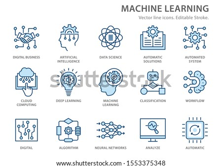 Machine learning line icons icons, such as artificial intelligence, digital business, automated system and more. Editable stroke.