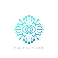 Machine vision, AI concept, vector line icon