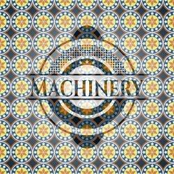 Machinery arabic style badge. Arabesque decoration.