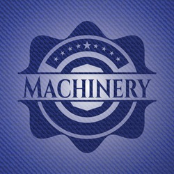 Machinery badge with jean texture. Vector Illustration. Detailed.