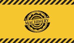 Machinery black grunge emblem inside yellow warning sign. Vector Illustration. Detailed.