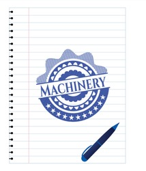 Machinery emblem with pen effect. Blue ink. Vector Illustration. Detailed.