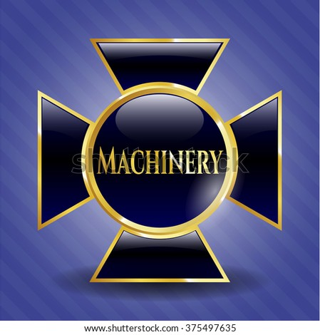 Machinery golden badge or emblem