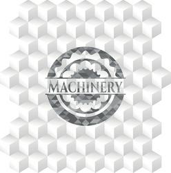 Machinery grey emblem with cube white background