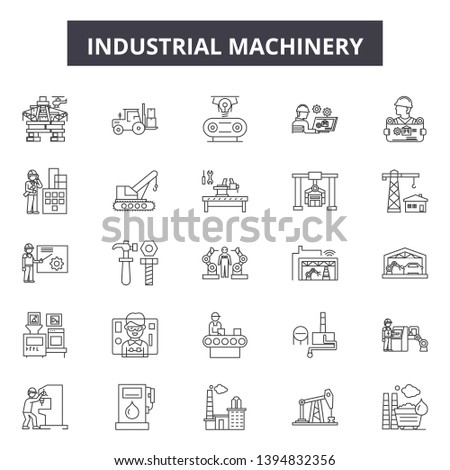 Machinery machinery line icon signs. Linear vector outline illustration set concept.