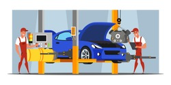 Machinery production flat illustration. Automobile industry. Car manufacturing, construction process. Car factory workers controlling engine setting. Automotive technology. Handymen vector characters