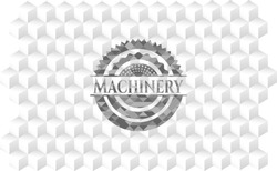 Machinery realistic grey emblem with cube white background