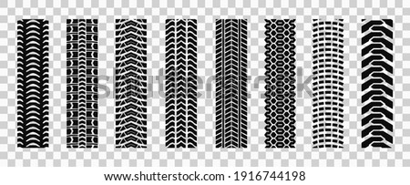 Machinery tires track set, tire ground imprints isolated, vehicles tires footprints, tread brushes, seamless transport ground trace or marks textures, wheel treads - vector Foto stock ©