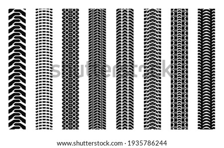 Machinery tires track set, tire ground imprints isolated, vehicles tires footprints, tread brushes, seamless transport ground trace or marks textures, wheel treads - vector for stock