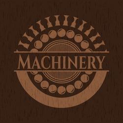 Machinery wooden emblem. Vintage. Vector Illustration.
