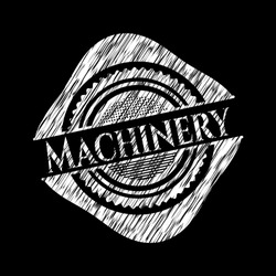 Machinery written with chalkboard texture. Vector Illustration. Detailed.