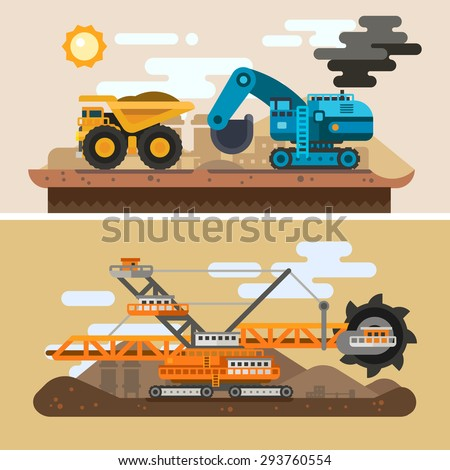 Machines for digging caves Construction process Industrial landscape mining metallurgy Vector flat illustration
