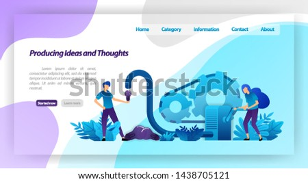 Machines for producing ideas, thoughts and inspiration, teamwork in businesses. vector illustration concept for landing page, template, ui ux, web, mobile app, poster, banner, website, flyer, ads