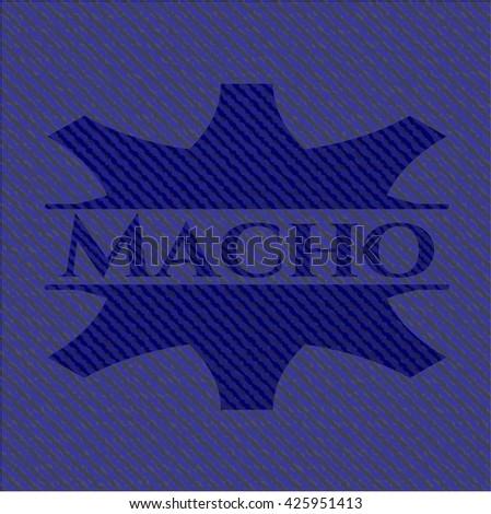 Macho badge with denim texture