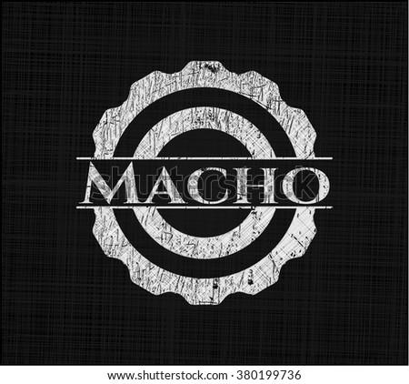 Macho chalkboard emblem written on a blackboard