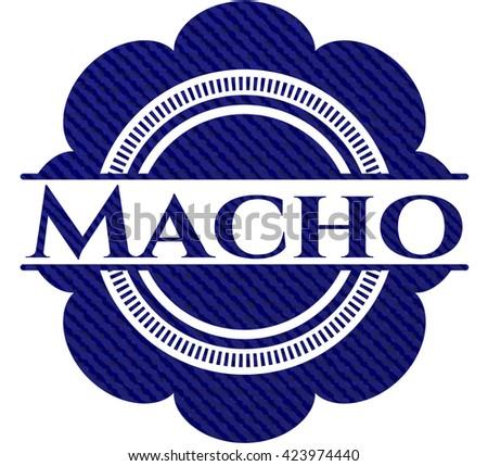 Macho emblem with denim texture