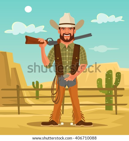 macho handsome cowboy. vector...