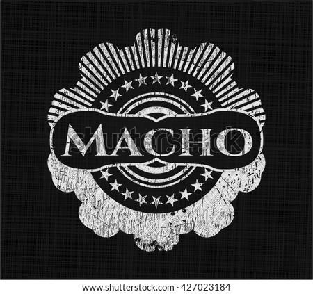Macho on chalkboard