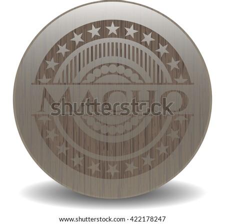 Macho retro wooden emblem