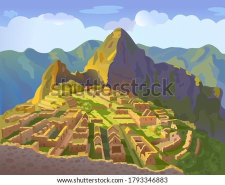 Machu Picchu in Peru. Historical landmark. City of the world countries vacation travel landmarks. South America. Vector illustration