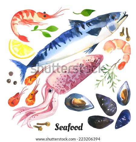mackerel watercolor set of sea