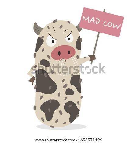 Mad Cow Disease cell vector illustration cartoon isolated on white background. Mad Cow Disease cell vector cartoon. Bovine spongiform encephalopathy microorganism vector.  ストックフォト ©