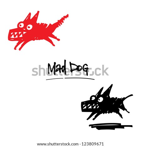 Mad Dog angry animal pet cartoon ink drawing