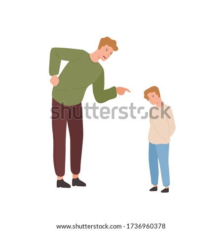 Mad father scolding little son vector flat illustration. Annoyed parent screaming to guilty child pointing finger isolated on white background. Relationship at family, punishment and disobedience