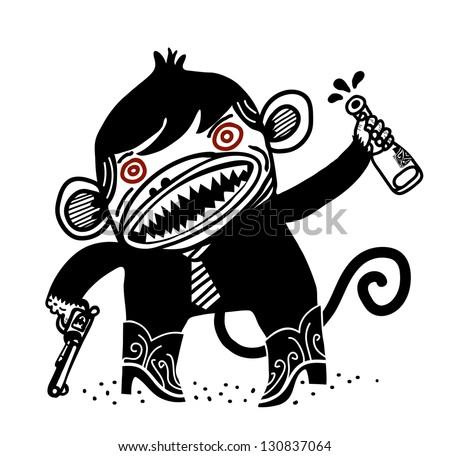 Mad Monkey Logo Mad Monkey With Pistol And