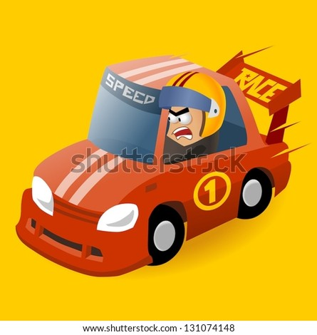 Mad Race Driver. Vector illustration