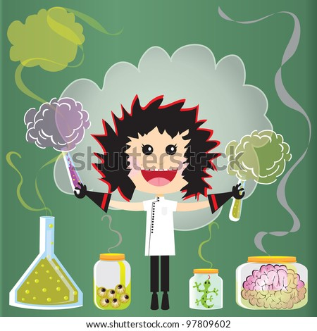 Mad Scientist Birthday Party Invitations. Puffs of smoke and fumes leak from test tubes, beakers and jars of eyeballs, lizards and a pink brains against a green chalkboard.