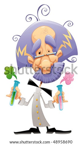 Mad scientist. Funny vector and cartoon character.