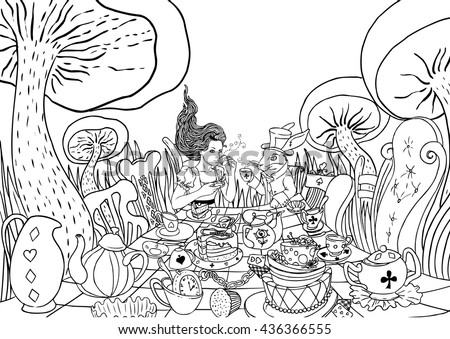 Tea Party Coloring Page Download Free Vector Art Stock Graphics