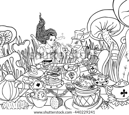 Mad Tea Party. Aliceu0027s Adventures In Wonderland Illustration. Girl, White  Rabbit Drink From
