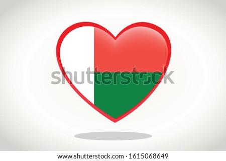 Madagascar Flag in Heart Shape. Heart 3d Flag of Madagascar, Madagascar flag template design.
