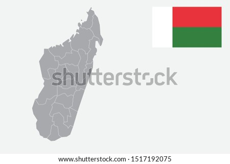 Madagascar map. Madagascar flag. flat icon symbol vector illustration