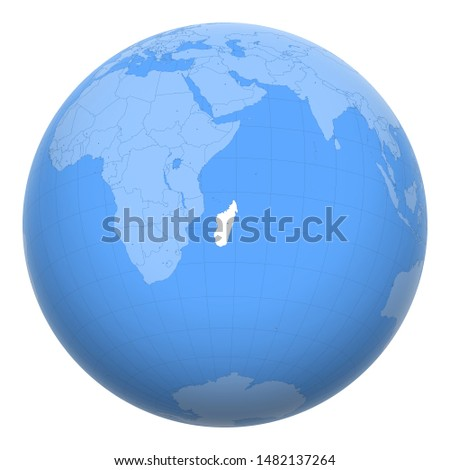 Madagascar on the globe. Earth centered at the location of the Republic of Madagascar. Map of Madagascar. Includes layer with capital cities.