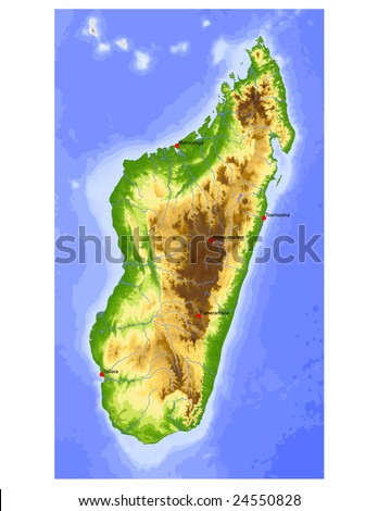 political maps of madagascar. Physical vector map, colored