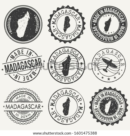 Madagascar Set of Stamps. Travel Stamp. Made In Product. Design Seals Old Style Insignia.