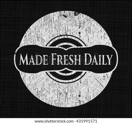Made Fresh Daily chalkboard emblem on black board