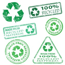 Made from recycled material. Rubber stamp vector illustrations