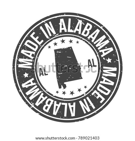 Made in Alabama USA Quality Original Stamp Design Vector Art Tourism Souvenir Round
