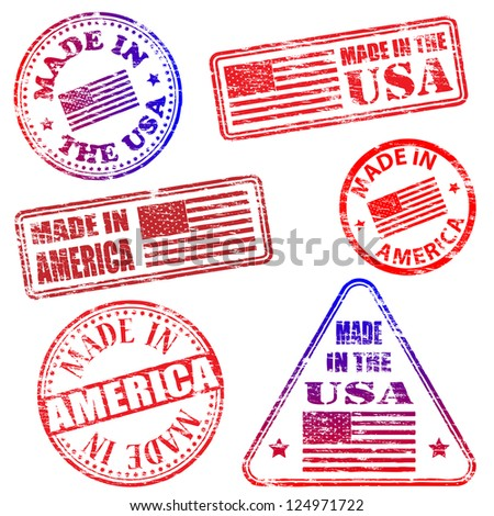 Made in America. Rubber stamp vector illustrations