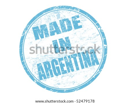Made in Argentina blue rubber stamp