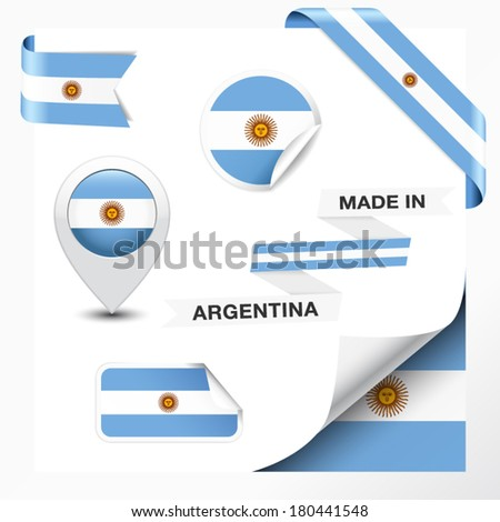 Made in Argentina collection of ribbon, label, stickers, pointer, badge, icon and page curl with Argentinian flag symbol on design element. Vector EPS 10 illustration isolated on white background.