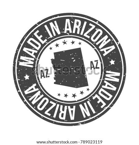 Made in Arizona USA Quality Original Stamp Design Vector Art Tourism Souvenir Round