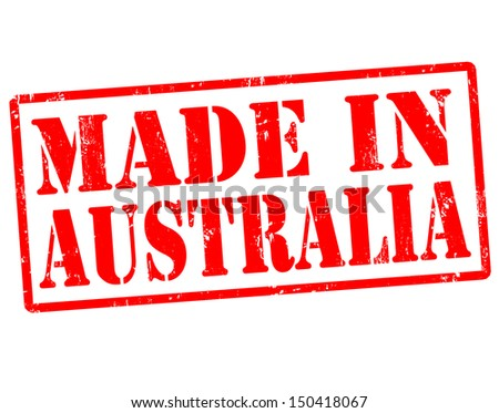 Made in Australia grunge rubber stamp over a white background, vector illustration